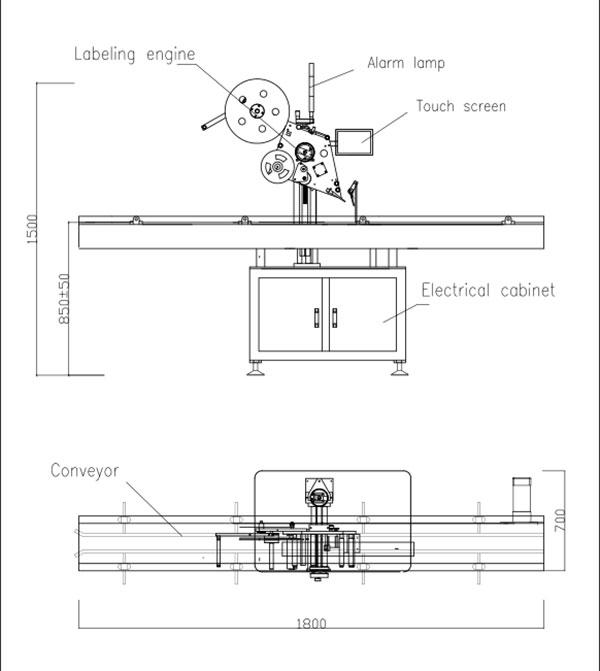 Máquina automática de etiquetagem autoadesiva de topo plano
